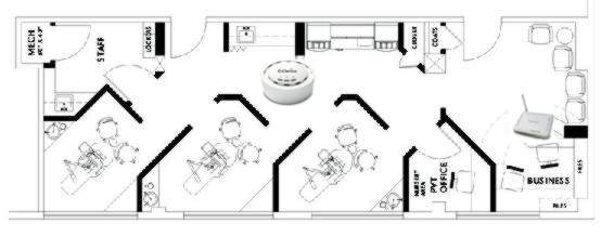 Wifi solutions for doctor and dentist offices for X ray room floor plan