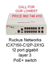 Ruckus Networks ICX7150-C12P-2X1G 12 port gigabit layer 3 full p